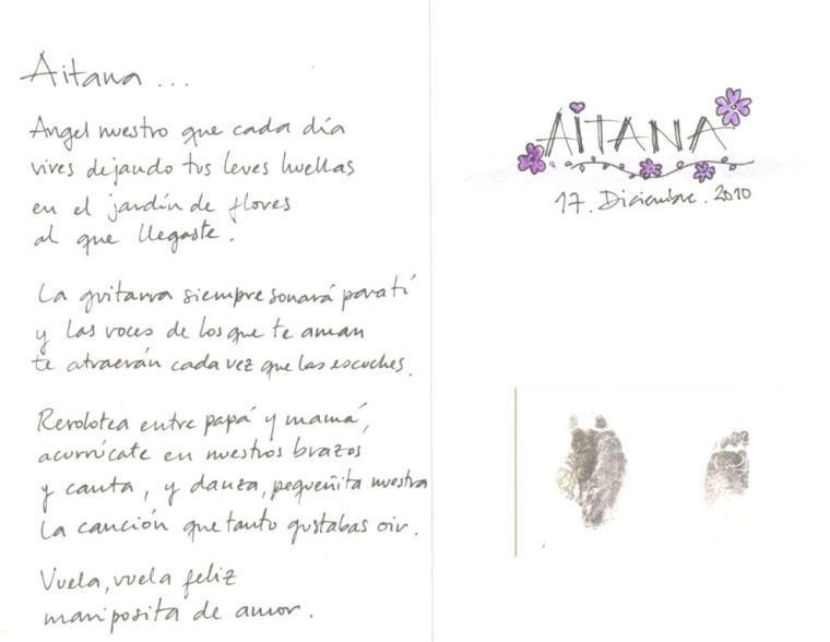 Poema de la abuelita Lore y la impresión de sus huellitas.